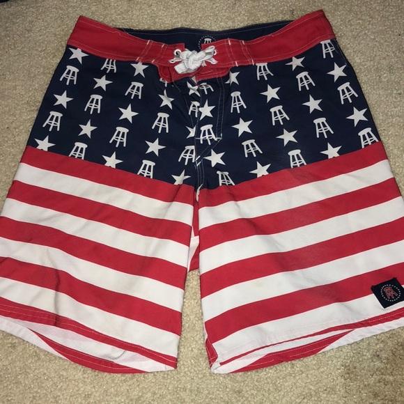 29cf9fb0af4 barstool sports Swim   Mens Barstool American Flag Bathing Suit ...